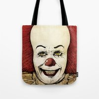 pennywise Tote Bags featuring It - Pennywise (Color Version) by Sinpiggyhead