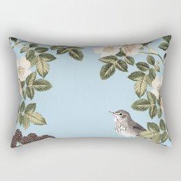 Birds and the Bees Blue Rectangular Pillow