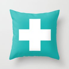Swiss Cross Turquoise Throw Pillow