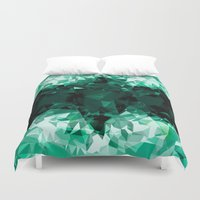 hell Duvet Covers featuring green hell by Matthias Hennig