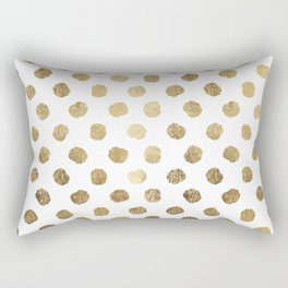 Luxurious faux gold leaf polka dots brushstrokes Rectangular Pillow