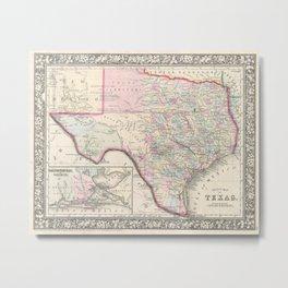 Vintage Map of Texas (1866) Metal Print