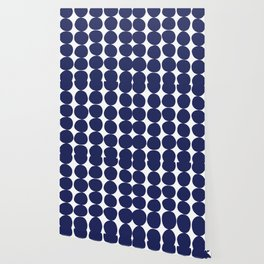 Midcentury Modern Dots Navy Wallpaper