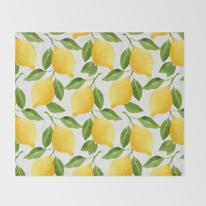 Watercolor Lemons Throw Blanket