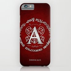 Joshua 24:15 - (Silver on Red) Monogram A iPhone 6s Slim Case