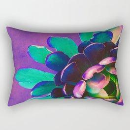 Pink Purple & Teal Succulent Flower Rectangular Pillow