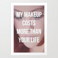 makeup Art Prints featuring Makeup by ewwidc