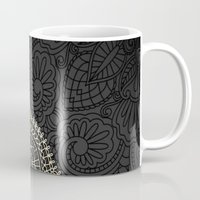 black and gold Mugs featuring black & gold by Pink Berry Patterns