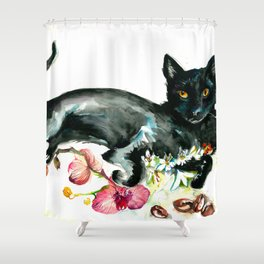 Coffee, Orchid and Black Cat Vintage Style Large Format XXL Shower Curtain