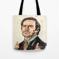 better call saul Tote Bags featuring saul! by withapencilinhand