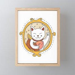 Maneki neko Framed Mini Art Print