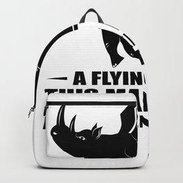 flying rhino flying rhinoceros no arguments me Backpack