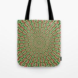 Two Tone Green And Red And White Christmas Mandala Tote Bag