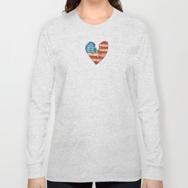 Torn Heart Flag Held Together With a Safety Pin Long Sleeve T-shirt