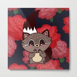 Racoon & roses Metal Print