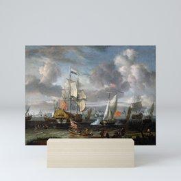 Abraham Storck - An English Yacht saluting a Dutch Man-of-War in the port of Rotterdam (1708) Mini Art Print