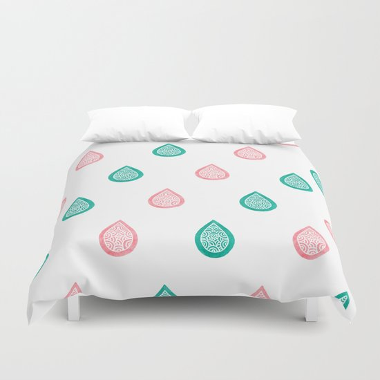 Turquoise and coral raindrops Duvet Cover