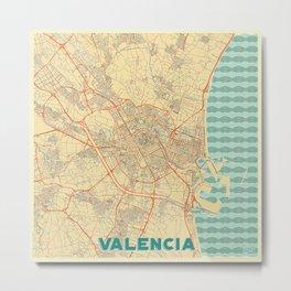 Valencia Map Retro Metal Print