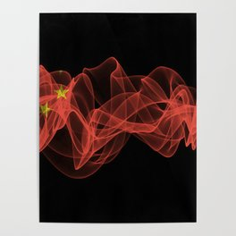 China Smoke Flag on Black Background, China flag Poster