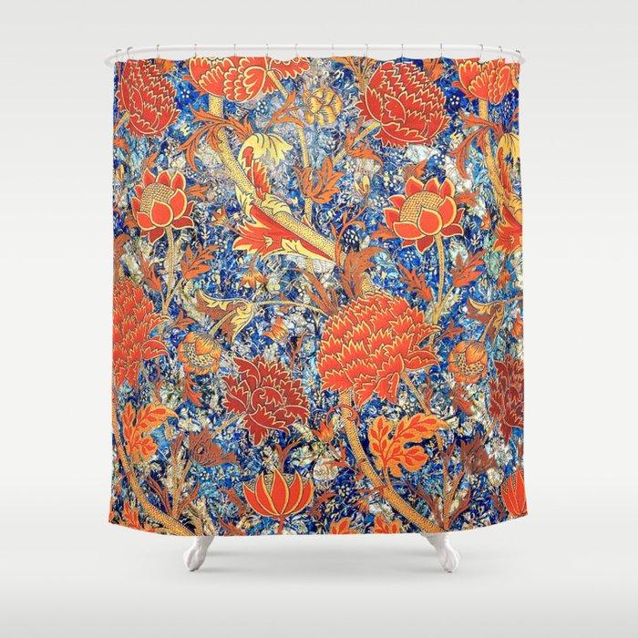 orange floral shower curtain. William Morris Wild Orange Floral Pattern Shower Curtain By