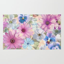Pink and blue floral pattern Rug
