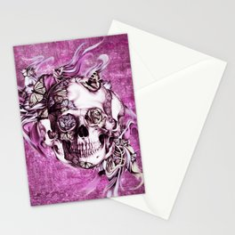 Plum Smoke and roses skull Illustration. Stationery Cards