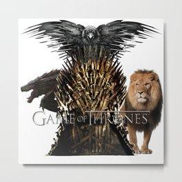 Dragon Lion Raven Iron Throne Metal Print