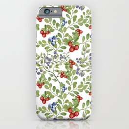 Seamless texture of branches of green grass and wild berries on a white background. iPhone Case