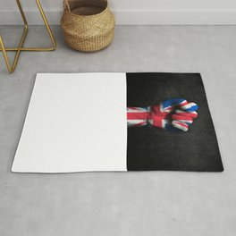 Union Jack Flag of The United Kingdom on a Raised Clenched Fist Rug
