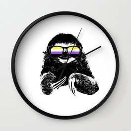 Pride Sloth Nonbinary Flag Sunglasses Wall Clock