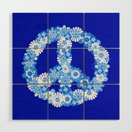Peace Sign Floral Blue Wood Wall Art