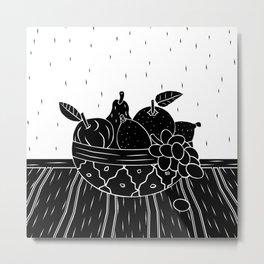 Fruit Bowl Linocut (Black & White) Metal Print
