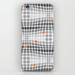 Dottywave - Grey and orange wave dots pattern iPhone Skin