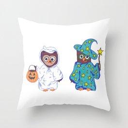 Trick or Treat Halloween Owls Throw Pillow