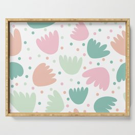 Abstract Pastel Floral Serving Tray