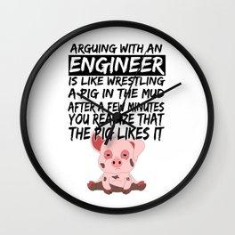 Civil Engineer Sarcastic Sarcasm Pig Piglets Wall Clock