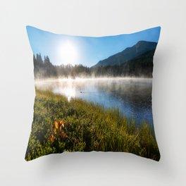 Morning Glory - Sunrise at Mountain Lake in Colorado Throw Pillow