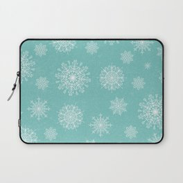 Assorted Snowflakes On Turquoise Backround Laptop Sleeve