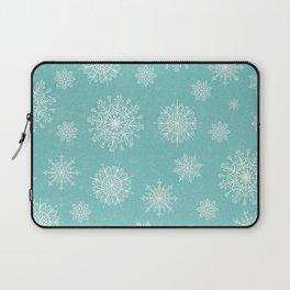 Assorted Snowflakes On Turquoise Backround Laptop Sleeve