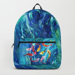 Koi fish rainbow abstract paintings Backpack