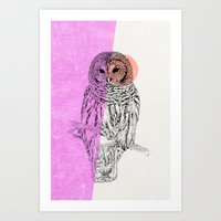 techno Art Prints featuring Techno Owl by Zeke Tucker