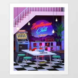 Synthwave And Chill Art Print