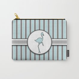Blue Flamingo Stripes Pattern Design Carry-All Pouch