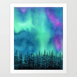 """Wilderness Lights"" Aurora Borealis watercolor landscape painting Art Print"