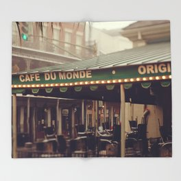 Foggy Cafe Du Monde Throw Blanket