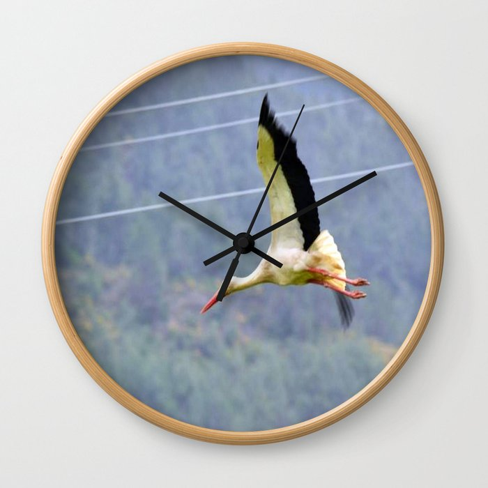 Stork In Flight Wall Clock