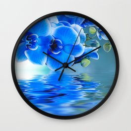 Blue Orchids Wall Clock