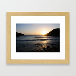 Sunset with golden ocean Framed Art Print