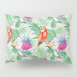 Macaws Parrots Exotic Birds on Tropical Flowers and Leaves Pillow Sham