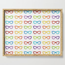 Colorful summer vintage eyewear goggles in cat eye shape Serving Tray